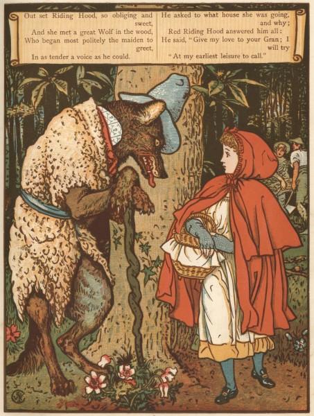 ולטר קריין, כיפה אדומה פוגשת את הזאב ביער, איור של ולטר קריין מתוך סדרת איורים למעשיות האחים גרים, תחריט, 1875.